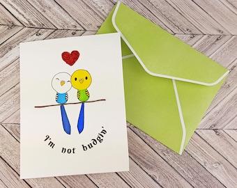 Handmade Greeting Card with Envelope | Budgie Parakeet Bird Budgerigar Art Card | Hand Drawn Hand Colored Blank | Love Friendship Card Gift