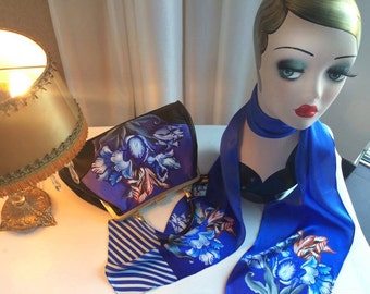 Handbag + Silk Scarf, 100% silk scarf,Porcelain bag,christmas,gift for her,gift for mom,Woody Ellen,christmas gifts,christmas gift ideas