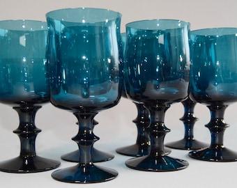 7 Boda Afors - Kosta Boda Sweden Blue Goblets by Bertil Vallien