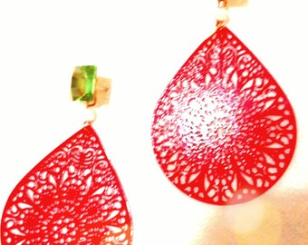 Boho loose Earrings Coral Red and Swarovski light green stone