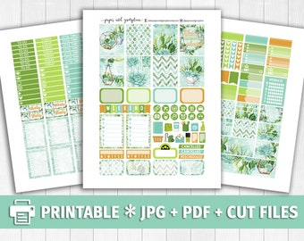 SUCCULENTS Printable Planner Stickers/for use with Erin Condren/Weekly Kit/Silhouette Cutfiles/Fall Green Blue Mint Summer Garden Floral