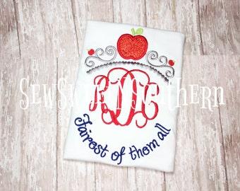 Fairest of then all embroidered shirt, Snow White inspired monogrammef shirt, Disney initial shirt, Dieney princess shirt. Rotten apple.