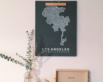 LOS ANGELES Map. Screen Print Poster. Neighborhood Map. Modern Home Decor Print. Los Angeles LA California Art Poster. Multiple Colors.