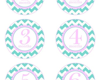 Baby Month to Month Stickers, Instant Download, Monthly Birthday Stickers for Baby, Photo Prop Birthday Stickers, Blue Chevron, Pink