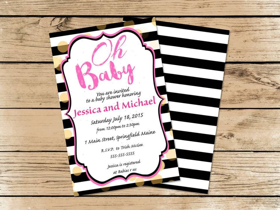 Oh Baby! Pink Black White and Gold Baby Shower Invitations | Party ...