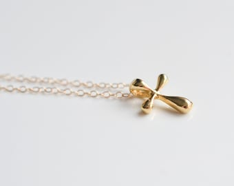 Gold Cross Necklace - Small Gold Cross - Sterling Silver Cross Necklace