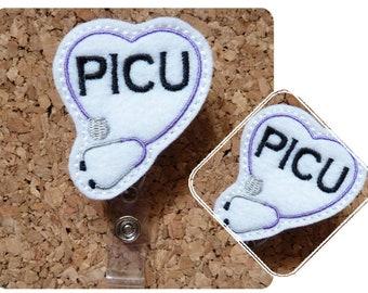 Stethoscope PICU Heart Badge Reel, Certified Nursing Assistant ID Badge Reel, Felt Badge Reel, Retractable Name Holder,  398