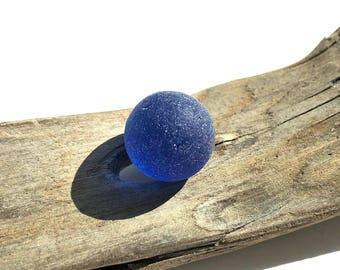 Blue Genuine Sea Glass Marble - Cobalt Blue Beach Glass Marble - Jewelry Supplies - Pendant - Sea Glass Marble// LN5