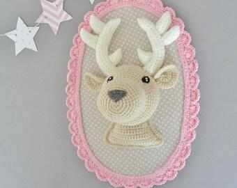 Handmade pink/beige deer trophy