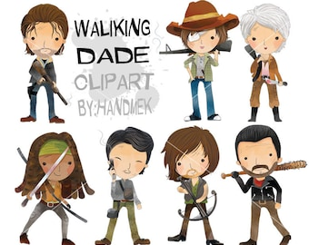 Walking dead characters clipart: instant download, PNG file - 300 dpi