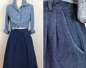 30% Off Sale 80s Peerless Pleated A-line Denim Skirt, Size SMALL