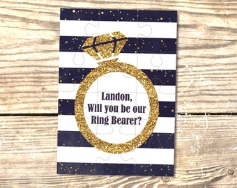 Ring bearer gifts Will you be our ring bearer puzzle Gold and Navy wedding invitation Ring Security Ring Bearer Proposal Be My Ring Bearer