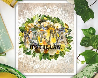 karma art - mixed media collage art - karma quote prints - yellow green bohemian art
