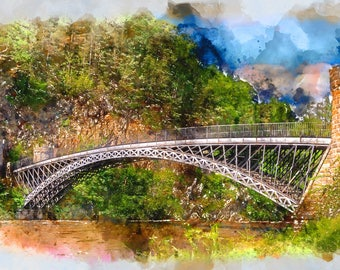 Craigellachie bridge watercolor from digital photo. Image for print.