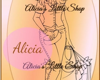 Shopping Girl Digital Stamp