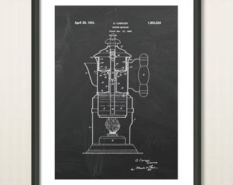 Home Decor Print Art, Coffee Machine Patent Poster, Chalkboard Kitchen Design, Make Coffee, Coffee Pot, Wall Art, Coffee Making Print