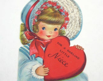 Vintage Children's Novelty Valentine Card with Cute Little Blonde Girl in Blue Hat with Roses Holding Heart by Hallmark