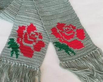 Red Rose Scarf Scarves Crochet Crocheted Woodland Heather Scarf in a shade  of Green Gift for Girlfriend Mom Wife Sister Aunt Ready to Ship
