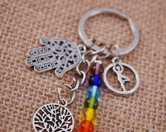 7 chakras keychain, Rainbow key ring, silver hippie keychain, yoga Vrksasana keychain, tree of life