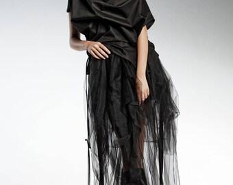 Long Tulle Skirt, Black Skirt, Tulle Maxi Skirt, Gothic Skirt, Women Skirt, Asymmetrical Skirt, Black Maxi Skirt, High Waisted Skirt