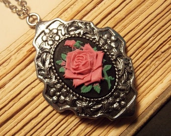 Pink and Silver Rose Cameo Necklace