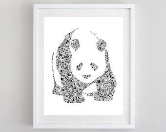 Panda Black and White Floral Watercolor Art Print