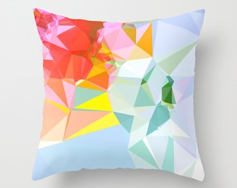Multicolored  Geometric Throw Pillow Cover, Orange Pillow Cover, 16 x 16 inches, 18 x 18 inches, 20 x 20 inches