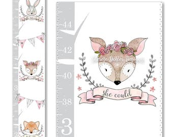 Woodland Growth Chart, Canvas Growth Chart, Fox Growth Chart, Bunny Growth Chart, Deer Growth Chart, Girls Growth Chart, Pink Grey Chart