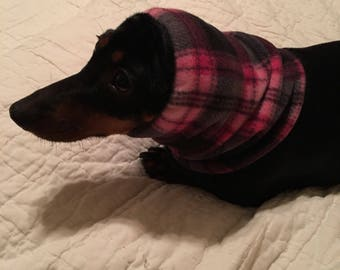 Dog Fleece Snood Hot Pink Plaid Fabric comes in Small, Medium, Large & Xlarge FREE SHIPPING