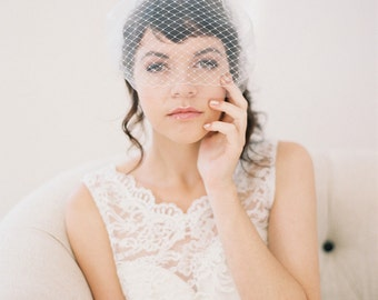Double Layer Bandeau Veil, Birdcage Veil with Tulle and French Netting #714V