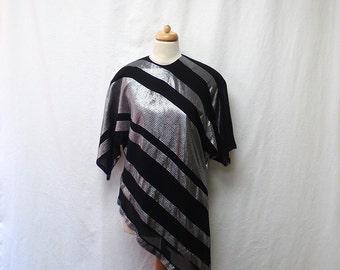 1970s / 80s Vintage Metallic Chiffon Top / Black & Silver Striped Asymmetric Blouse
