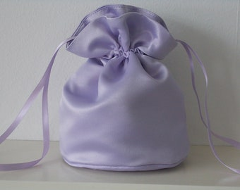 Lilac satin dolly bag. Ribbon drawstring, wrist purse, wedding bag for bride/bridesmaid Bridal UK Seller