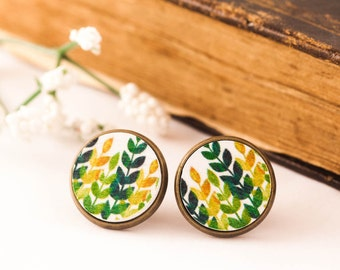 Green Leaf Earrings - Wood Studs - Green Stud Earrings - Leaf Earrings - Nature Inspired Earrings - Gift For Woman, Wood Earrings, For Her