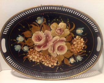 Oval Hand Painted Tole Serving Tray with Pierced Edges