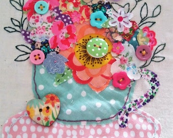 Flower Arrangement in a Tea Cup, Mother's Day Card, Birthday Card, Just Because Card, Hand Stitched Card