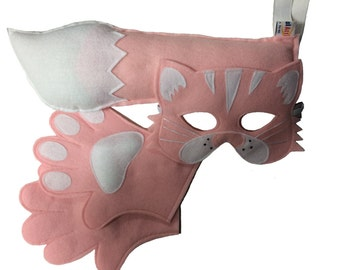 Children's Animal CAT Felt Costume Set Incluidng Mask, Tail and Matching Paws