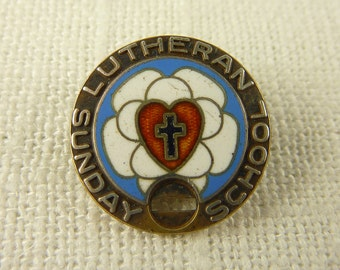 Antique Sterling Enamel Attendance Medal Brooch