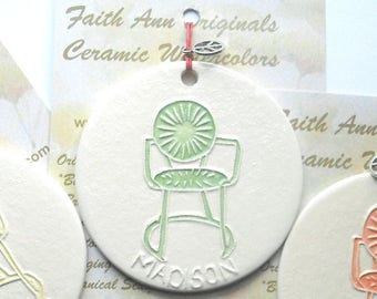 GREEN CHAIR Ornament Union Terrace Chairs handmade ceramic UW grad Madison Wi alum son daughter family student gift
