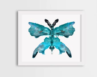 Turquoise wall art, blue butterfly painting, turquoise butterfly art, blue butterfly print