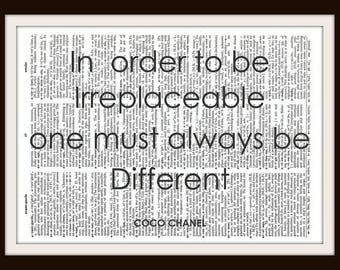 In order to be Irreplaceable one must always be different- Coco Chanel Quote- Vintage Dictionary Art Print--Fits 8x10 Mat or Frame