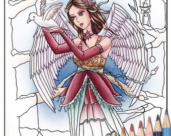 Digital Stamp - Printable Coloring Page - Fantasy Art - Angel Stamp - Neva - by Nikki Burnette - PERSONAL USE