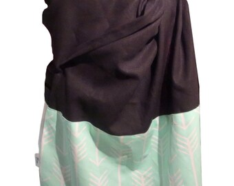 Linen Ring sling blossom, Linen black and Arrow mint, Baby sling, baby carrier, baby wrap
