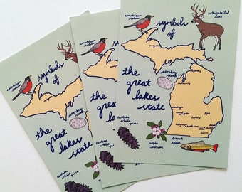 Michigan Postcard - Set of 3 State Symbols Souvenirs