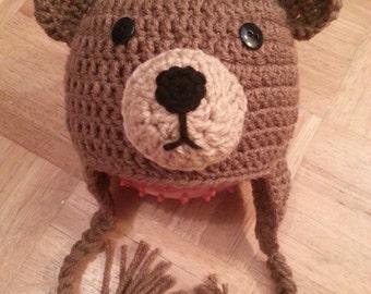Crochet Brown Bear Hat