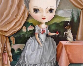 Marie Antoinette Queen orginal oil painting, bigeyes girl art, pop surrealism Wall Art, low brow, big eye art by inameliart