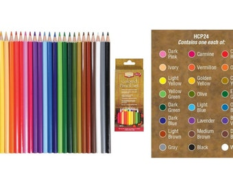 24 piece COLORED PENCIL Artist Set  Pre-sharpened Coloring Pencils Drawing Art Supplies Alvin Heritage
