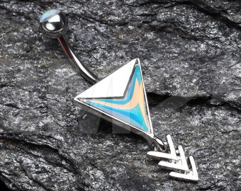 Arrow Chic Iridescent Belly Button Ring
