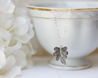 Sterling Leaf Necklace Tiny Leaf Necklace Sterling Silver Filagree Leaf Necklace Woodland Jewelry OOAK