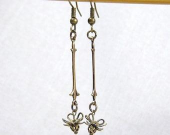 Brass Earrings, Antiqued, Hanging Flower Earrings, Stick earrings, E374
