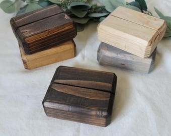 Handmade Wooden Table Number Holders with Chamfered Edging
